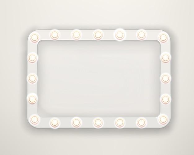 Uitstekend frame met heldere lightbulbs. helder retro kadermalplaatje voor een tekst