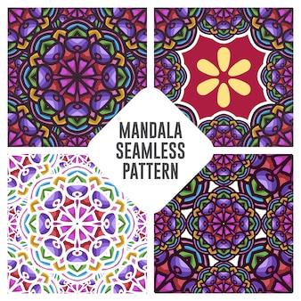 Uitstekend mandala naadloos patroon met bloemenornament met blauwe en oranje kleurencombinatie