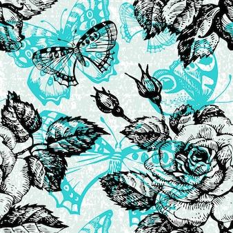 Uitstekend naadloos bloemenpatroon. handgetekende illustratie met vlinder