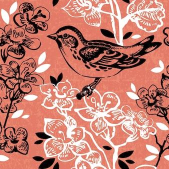 Uitstekend naadloos bloemenpatroon. handgetekende illustratie met vogel en vlinder