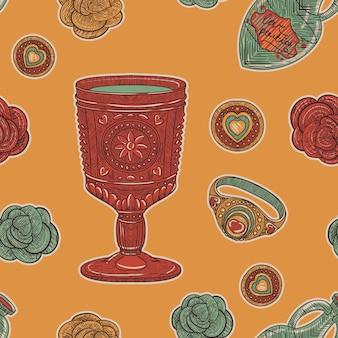 Uitstekend naadloos patroon. liefdesbeker en rozen en ringen in een retro schetsstijl