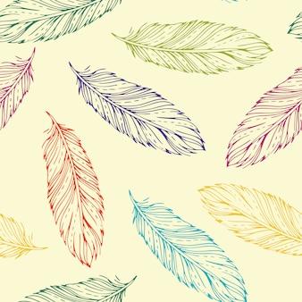 Uitstekend naadloos patroon met hand-drawn veren
