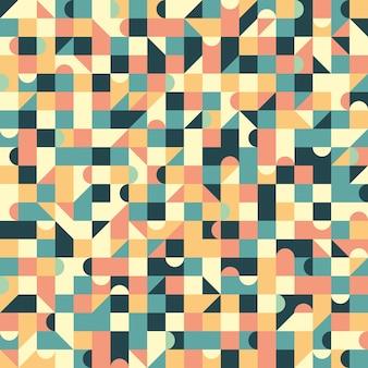 Uitstekend naadloos patroon met vierkanten en halve cirkel.