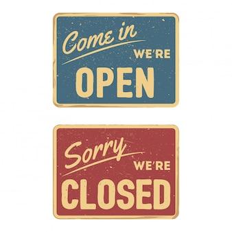 Uitstekend open en gesloten teken geïsoleerd op witte achtergrond