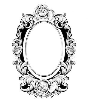 Uitstekend rond frame met roze bloemen