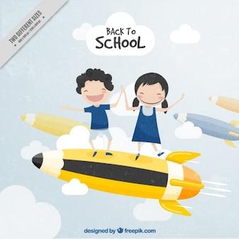 Uitstekende achtergrond studenten met plezier op een potlood