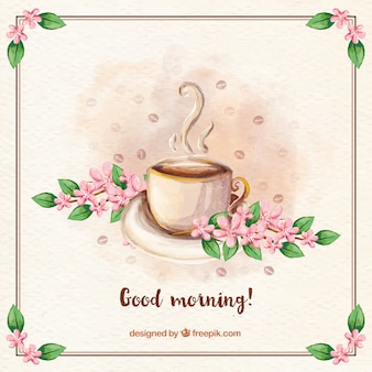 Uitstekende achtergrond van de goedemorgen met koffie en bloemen