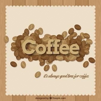 Uitstekende achtergrond van koffiebonen met een boodschap