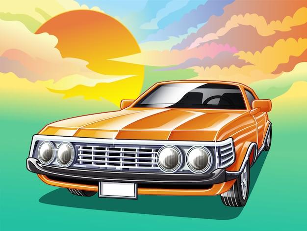 Uitstekende auto op hemelachtergrond in beeldverhaalstijl.