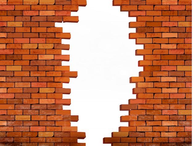 Uitstekende bakstenen muurachtergrond met gat.