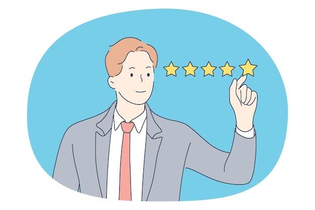 Uitstekende beoordeling, perfecte service en feedback van klanten. glimlachende zakenman status en