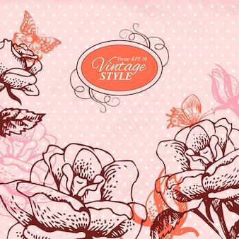 Uitstekende bloemenachtergrond. handgetekende illustratie van rozen en vlinders