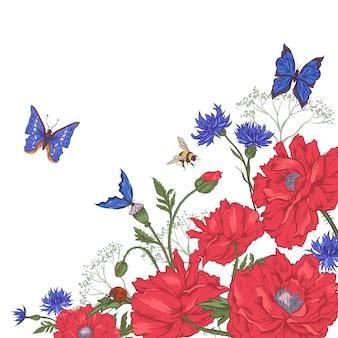 Uitstekende bloemenachtergrond met rozen en wilde bloemen