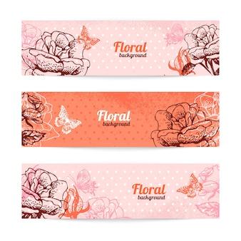 Uitstekende bloemenbanners. hand getekende illustratie van roos