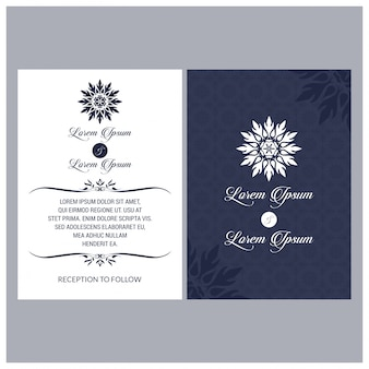 Uitstekende bruiloftuitnodiging mehndi mandala design sets bevatten uitnodigingskaart