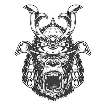 Uitstekende ernstige gorillastrijder in samoeraienhelm in zwart-wit stijlillustratie