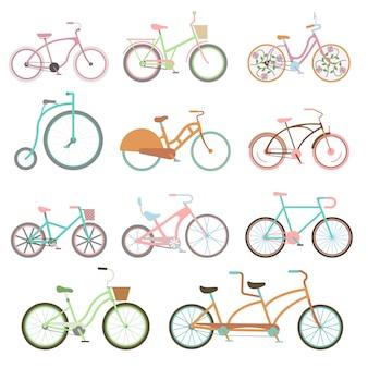 Uitstekende fiets vastgestelde berijdende fietsvervoer vlakke vectorillustratie.