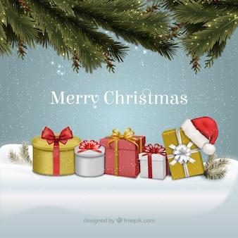 Uitstekende kerstkaart met geschenkdozen