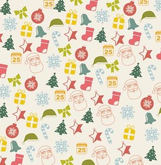 Uitstekende kerstmispictogrammen over beige vectorillustratie als achtergrond