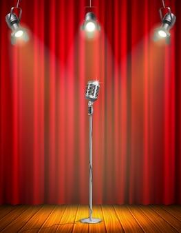 Uitstekende microfoon op verlicht stadium met rood gordijn drie hangende vectorillustratie van de schijnwerpers de houten vloer