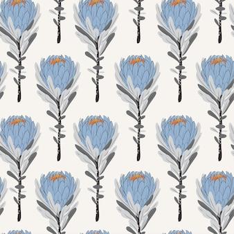 Uitstekende monotone blauwe proteabloemen in naadloos patroon