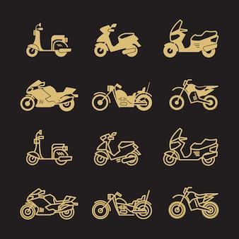 Uitstekende motor en motorfietspictogrammen geplaatst die op zwarte achtergrond worden geïsoleerd