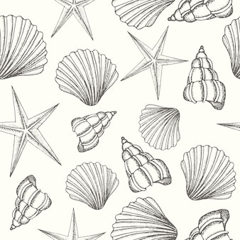 Uitstekende naadloze achtergrond met hand getrokken shells