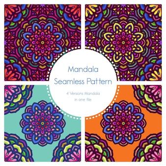 Uitstekende naadloze van het patroonpak mandala sier als achtergrond