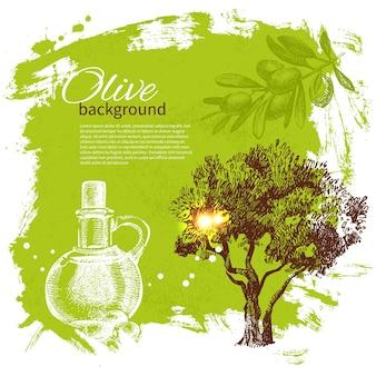 Uitstekende olijfachtergrond. handgetekende illustratie