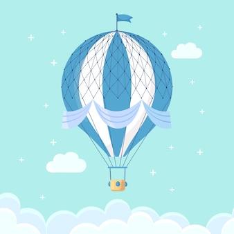Uitstekende retro hete luchtballon met mand in hemel die op achtergrond wordt geïsoleerd.
