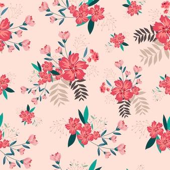 Uitstekende roze bloem naadloze achtergrond