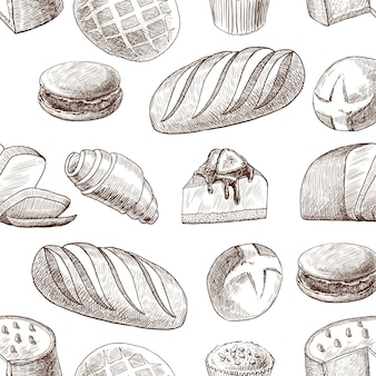 Uitstekende stijltekening van het gebakje de naadloze patroon