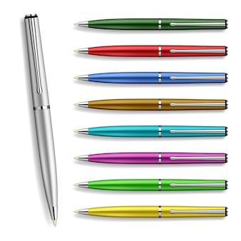 Uitstekende vector set colorfull pennen geïsoleerd op wit