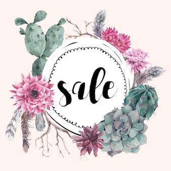 Uitstekende verkoopkaart met takken en succulent