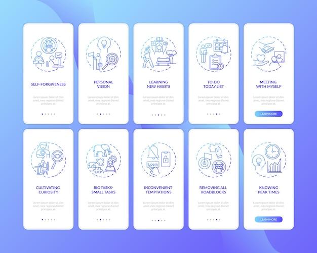 Uitstelgedrag overwinnen onboarding mobiele app-paginascherm met ingestelde concepten