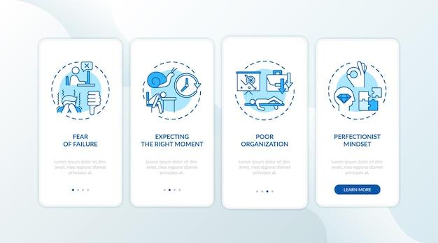 Uitstelgedrag veroorzaakt onboarding mobiele app-paginascherm met concepten
