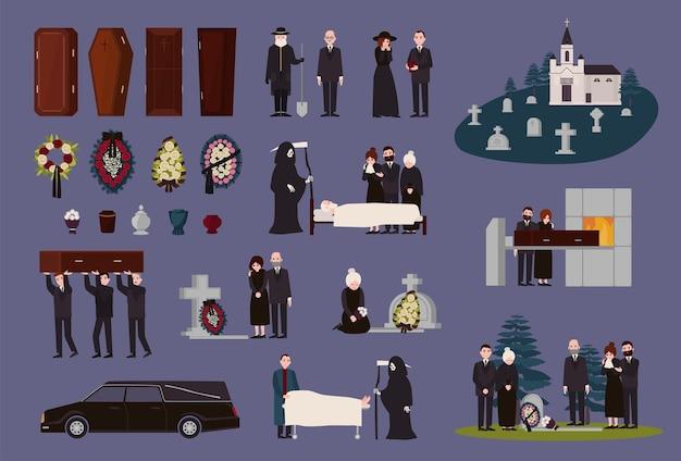 Uitvaartdienst en ceremonie collectie. rouwende mensen gekleed in zwarte rouwkleding, graven, doodskisten, urnen, lijkwagens, begraafplaatsen, begrafenis- en crematieprocedures. vector illustratie.