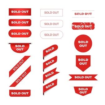 Uitverkocht rood bannerlabel en taglint.