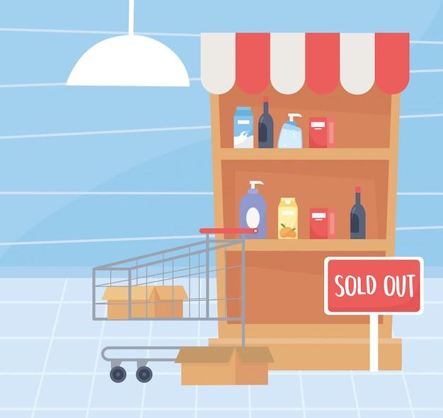 Uitverkocht schap en kar supermarkt overtollige aankoop van voedsel