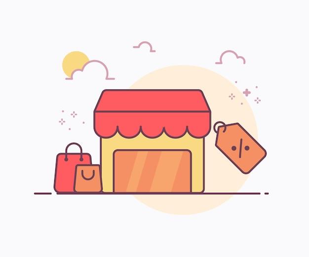 Uitverkoop concept winkel rond zak label prijs icoon met zachte kleur ononderbroken lijn stijl vector ontwerp illustratie