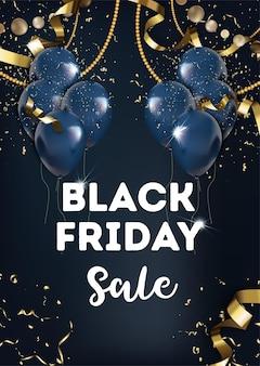 Uitverkoop en kortingen voor zwarte vrijdag, kaart met opblaasbare ballonnen en decoratief swirly klatergoud