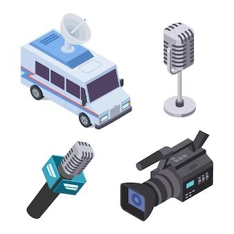 Uitzendapparatuur. televisiestroomelektronica, telecommunicatie 3d isometrische vector-elementen