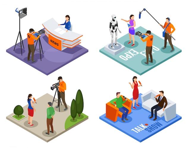 Uitzending 2x2 ontwerpconcept set van talkshow nieuws expo en straat interview isometrische composities vector illustratie