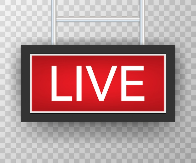 Uitzending studio live licht. live teken radio en televisie.