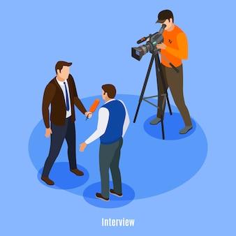 Uitzending telecommunicatie isometrisch met schieten bemanning en man interview vectorillustratie geven