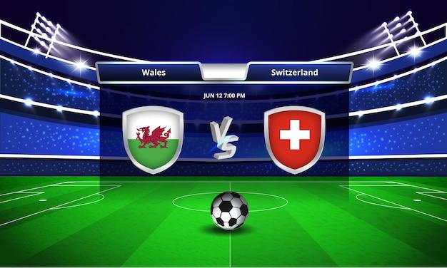 Uitzending van het scorebord van de euro cup wales vs zwitserland voetbalwedstrijd