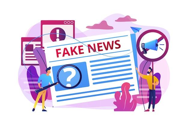 Uitzending van valse informatie. pers, krantenjournalisten, redacteuren. nepnieuws, ongewenste nieuwsinhoud, desinformatie in mediaconcept.