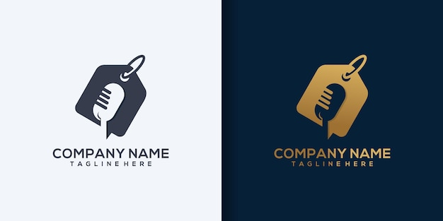 Uitzending winkelen logo sjabloon ontwerp vector, podcast, studio logo vector