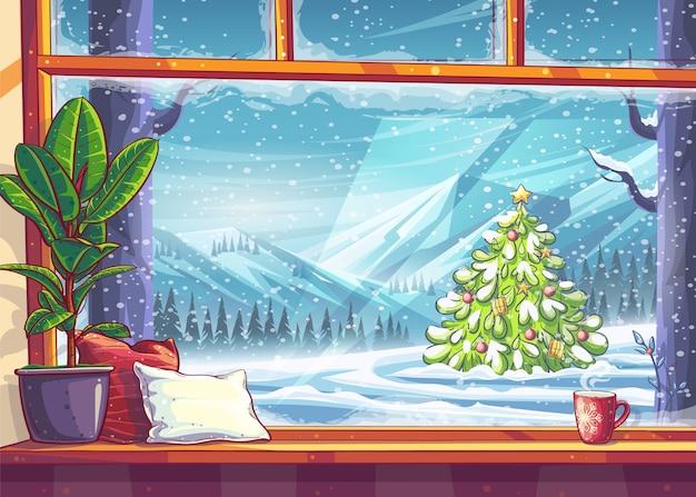 Uitzicht op de bergen en de kerstboom door raam. voor print on demand, advertenties en commercials, tijdschriften en kranten, boekomslagen.