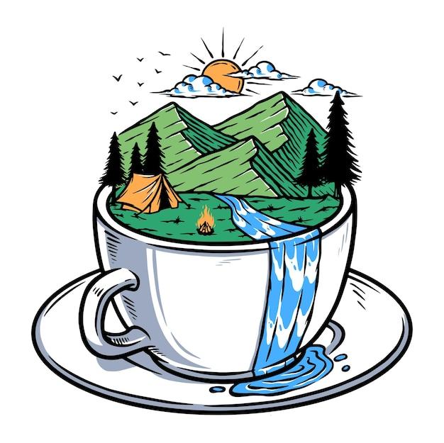 Uitzicht op de bergen in de illustratie van de koffiekopje
